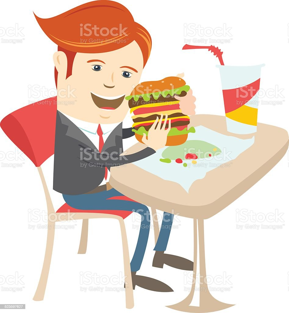 Hipster office man eating sandwich at cafe. Flat style vector art illustration