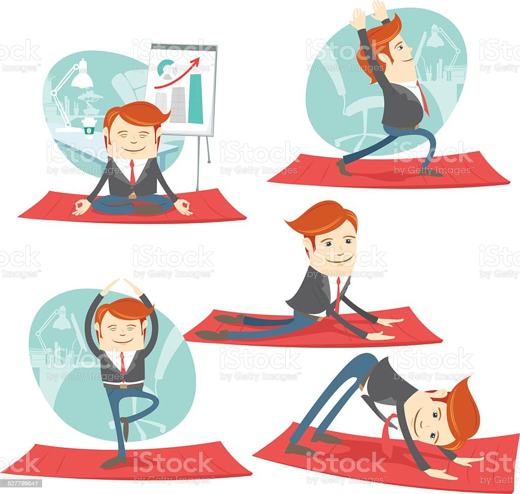 Hipster office man practicing warrior, downward and upward facin vector art illustration