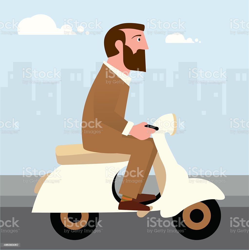 Hipster on a scooter vector art illustration