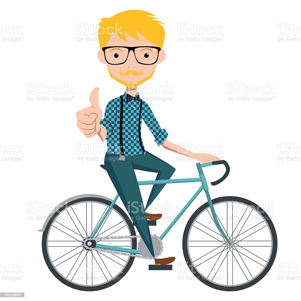 hipster on bicycle vector art illustration