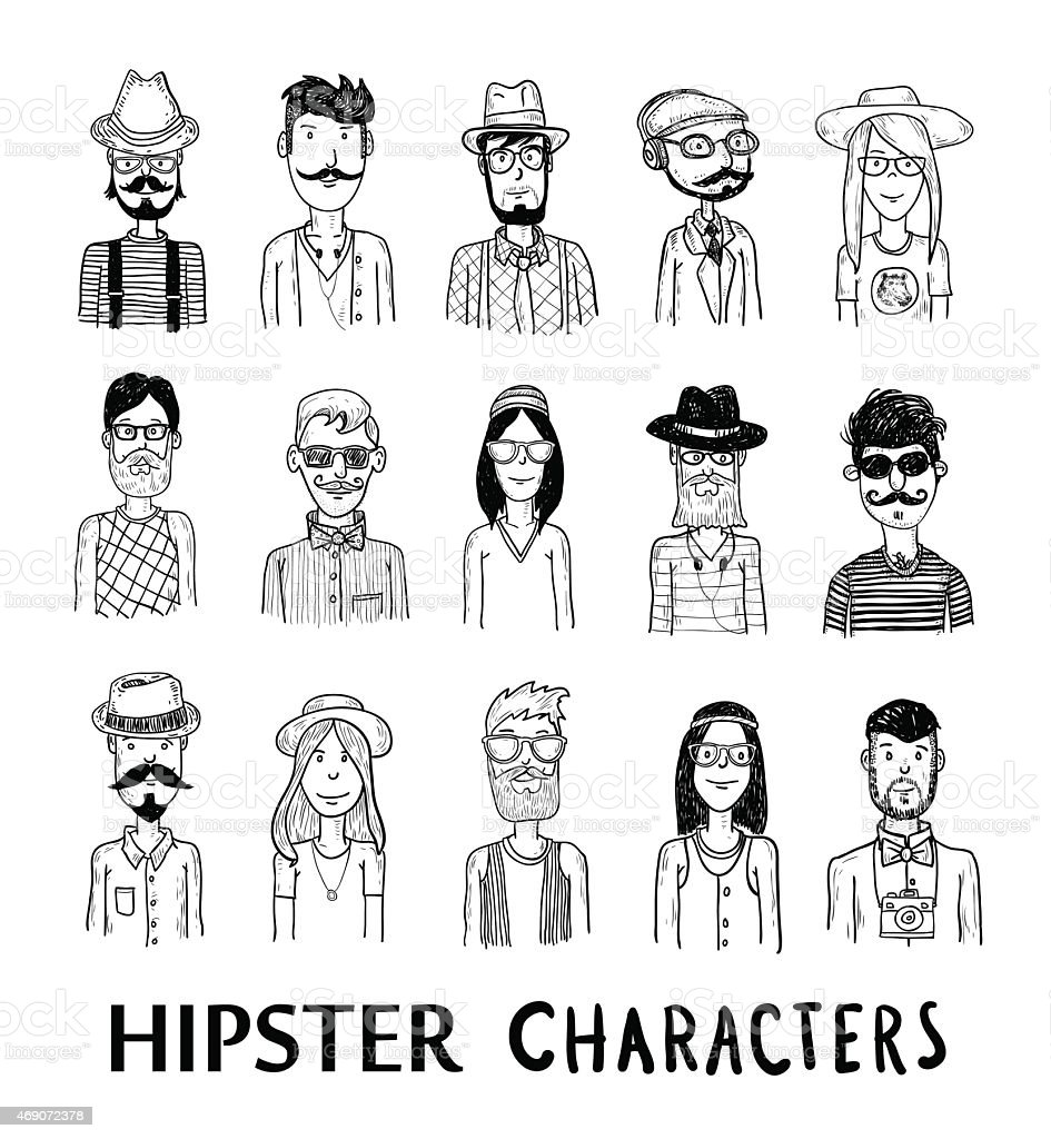Hipster people icon set. vector illustrations. vector art illustration