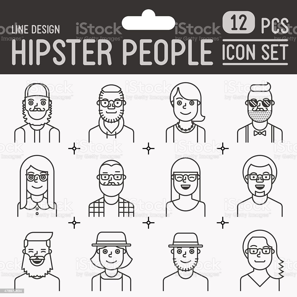 Hipster people line design icon set. Trendy vector illustrations. vector art illustration