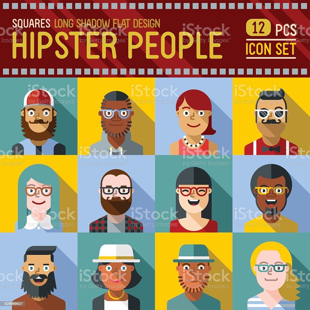Hipster people square icon set. Trendy illustrations. vector art illustration