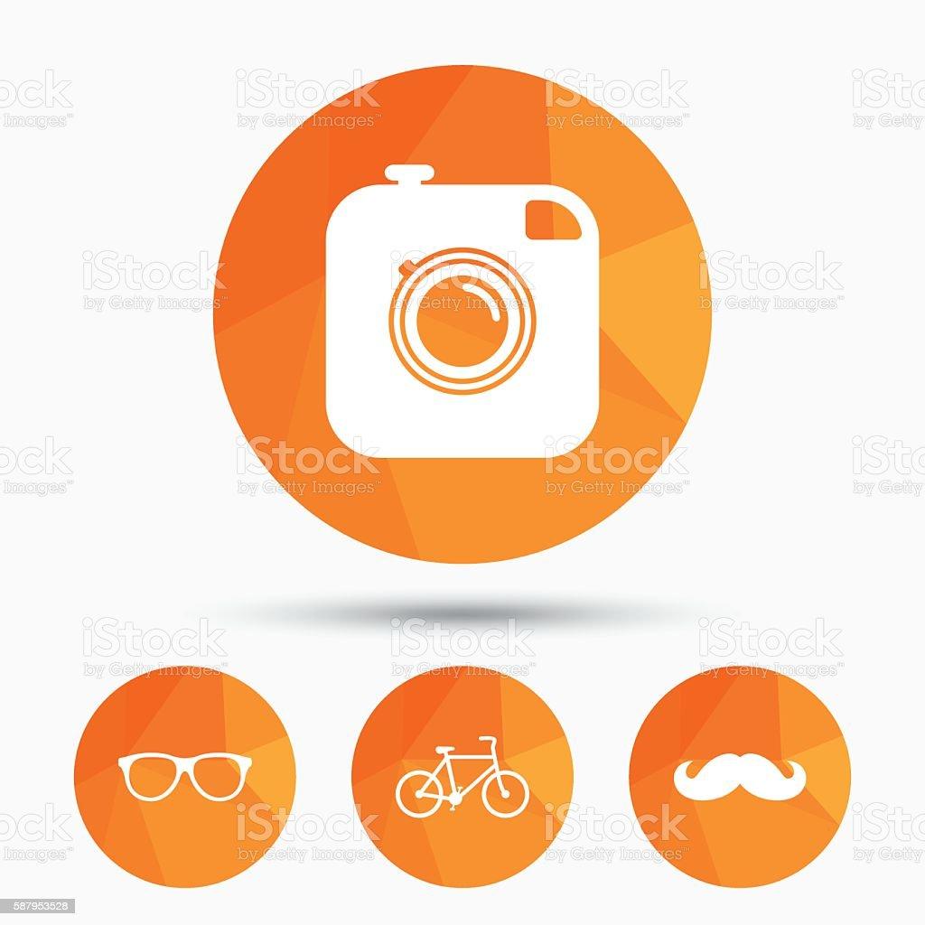 Hipster Photo Camera Icon Glasses Symbol Stock Vector Art 587953528