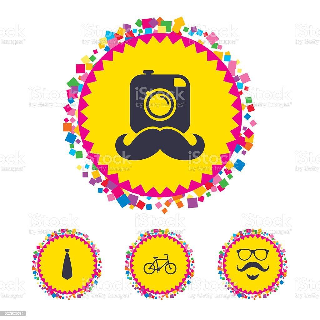Hipster photo camera icon. Glasses symbol. vector art illustration