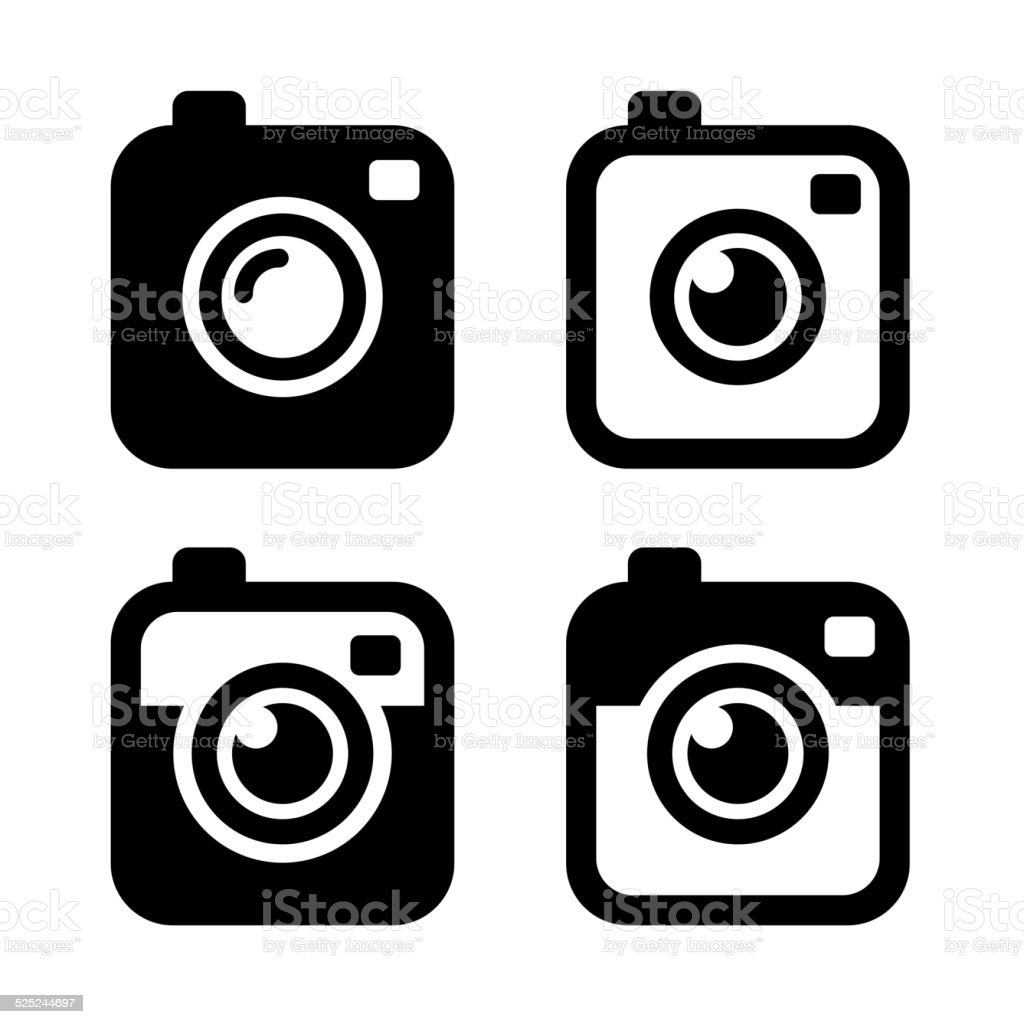 Hipster Photo or Camera Icons Set. Vector vector art illustration