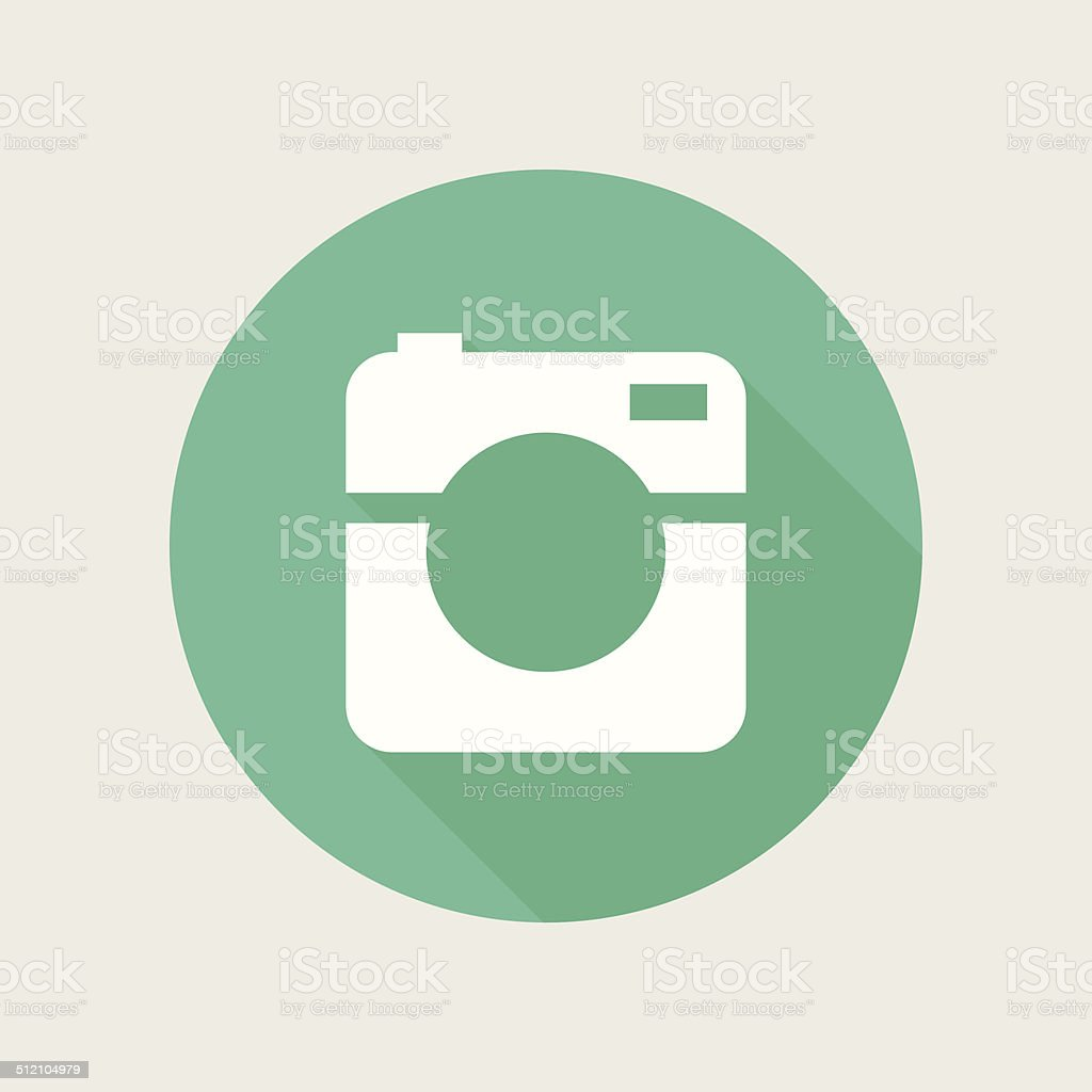 Hipster photo or video camera icon, minimalism style, flat design vector art illustration