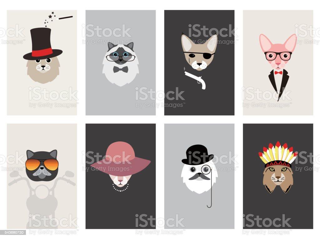 hipster, portrait of cat, gentlemen cat vector art illustration