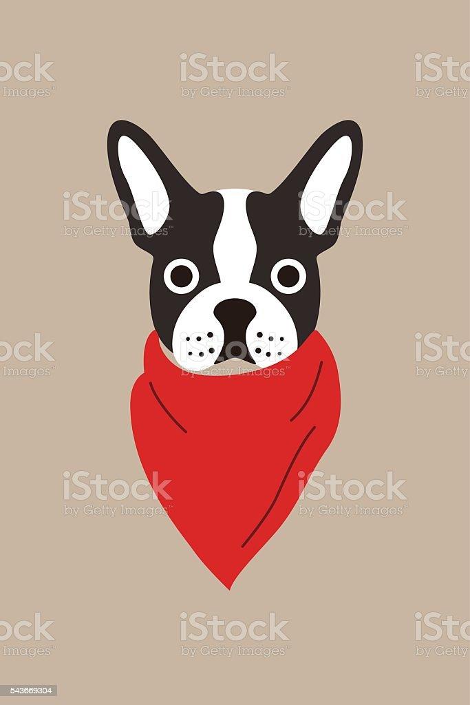 hipster, portrait of dog, gentlemen dog vector art illustration