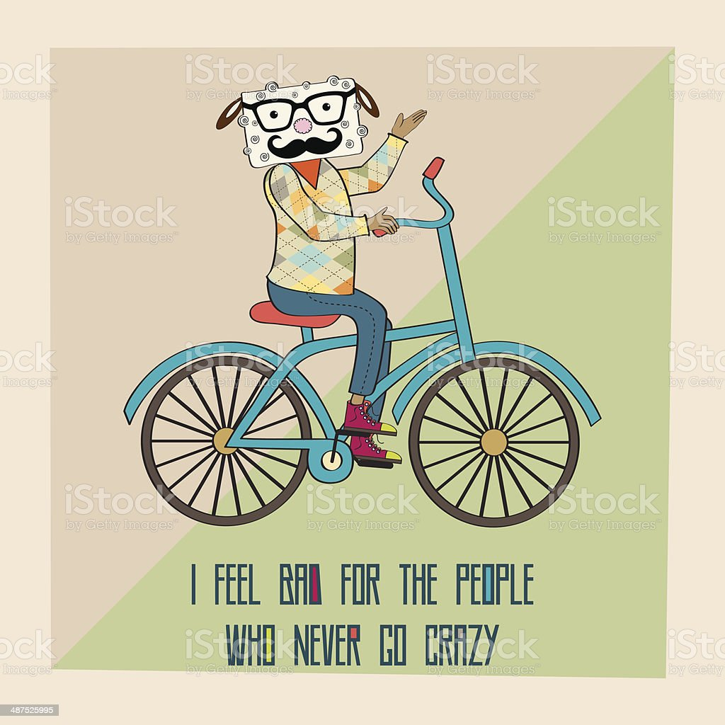 Hipster poster with nerd sheep riding bike vector art illustration