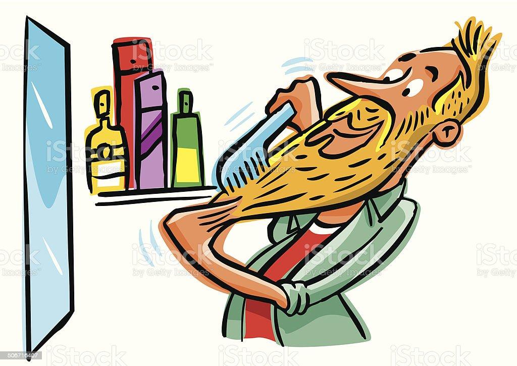 Hipster presumed combing his long beard and mustache vector art illustration