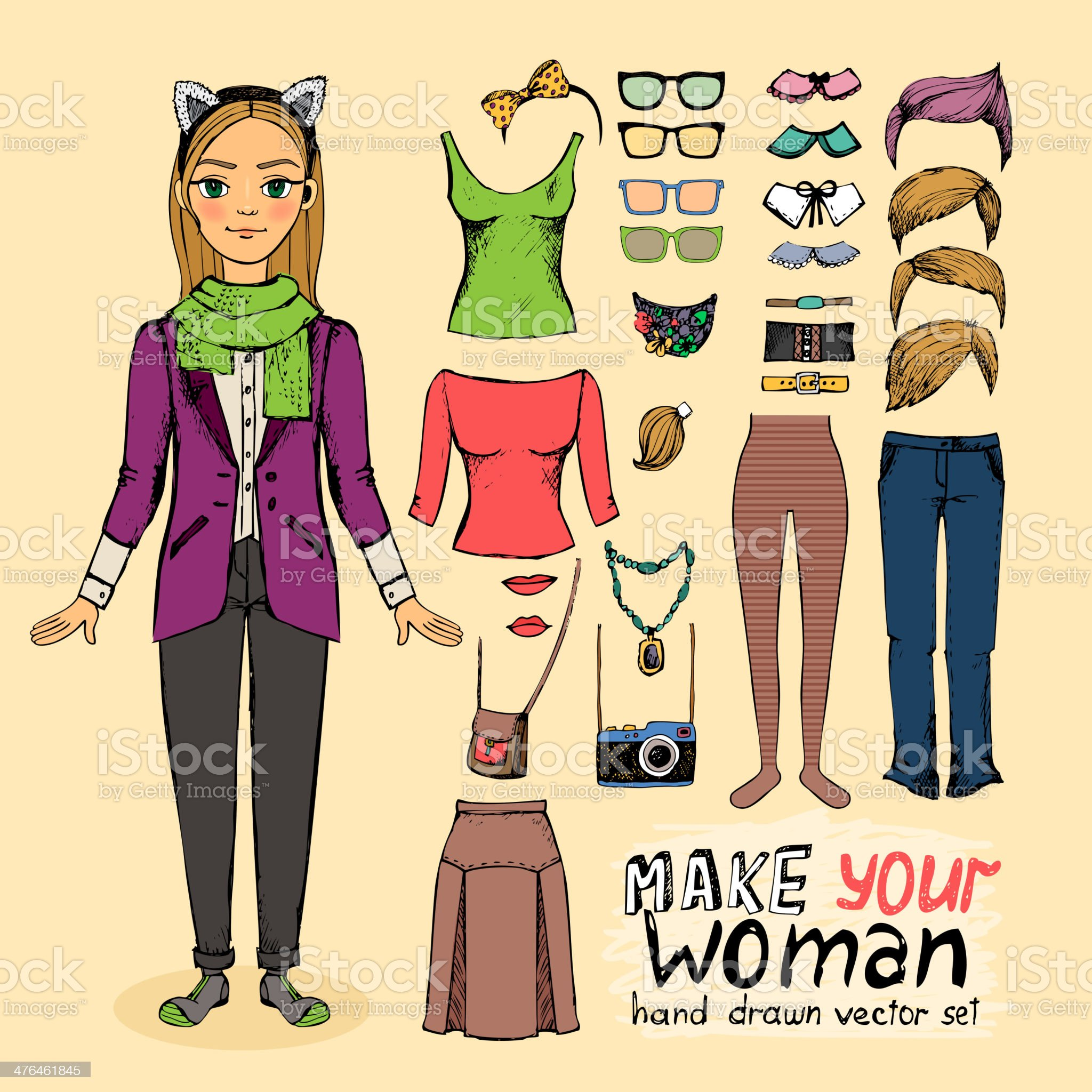 Hipster pretty girl with accessories royalty-free stock vector art