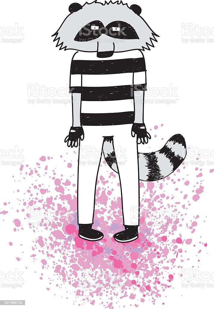 Hipster Raccoon Character vector art illustration