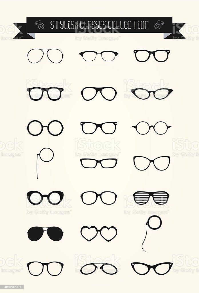 Hipster Retro Vintage Glasses Icon Set vector art illustration