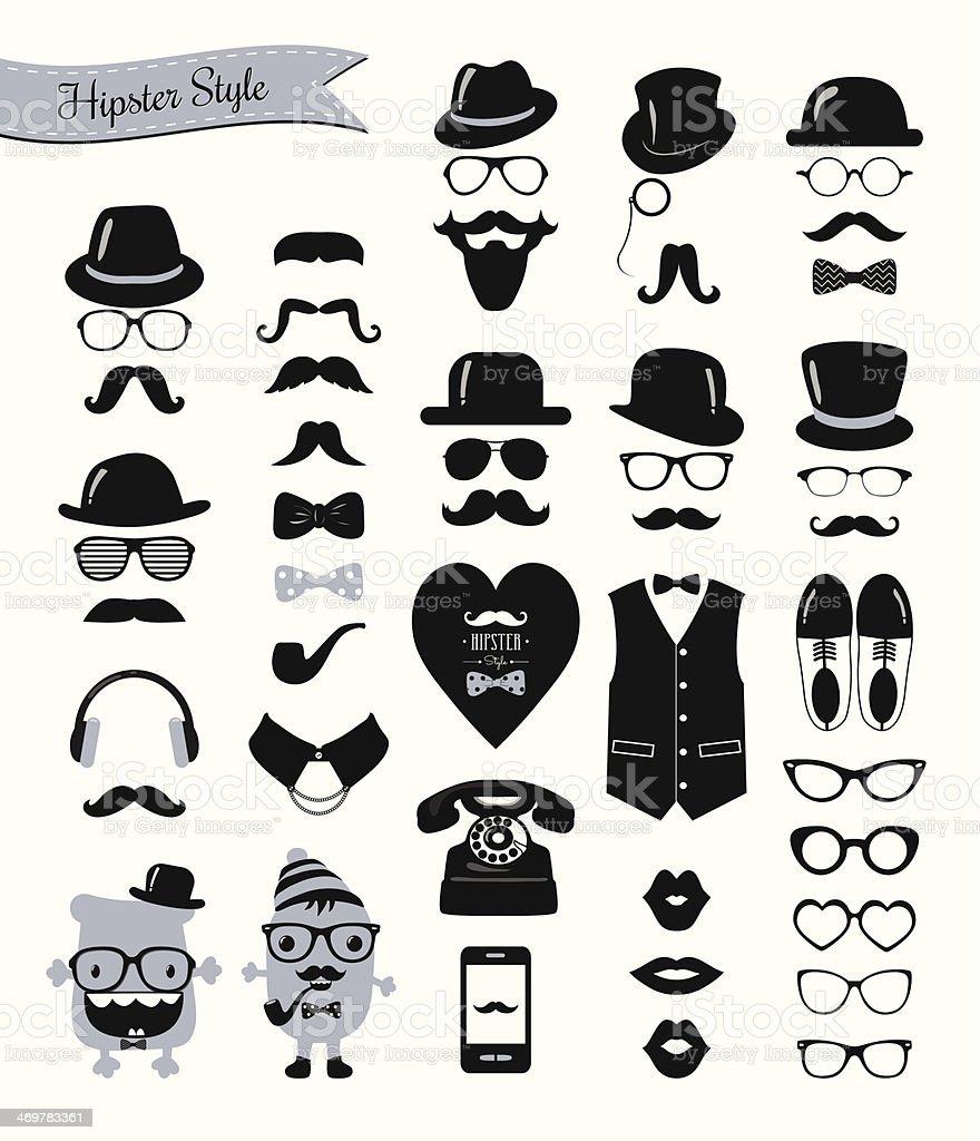 Hipster Retro Vintage Icon Set vector art illustration
