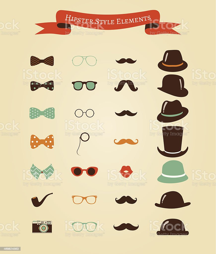 Hipster Retro Vintage Icon Set royalty-free stock vector art