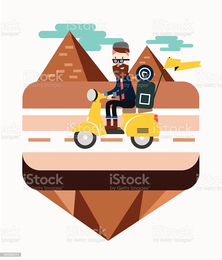 Hipster riding a scooter near Egypt pyramid scene. vector art illustration