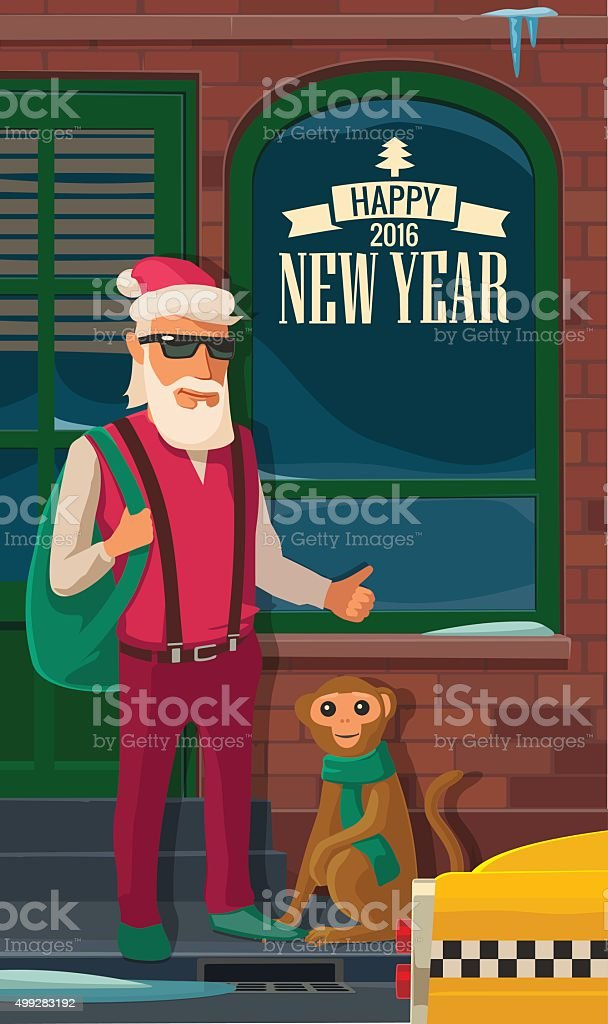 Hipster Santa Claus, monkey and taxi on New York street. vector art illustration