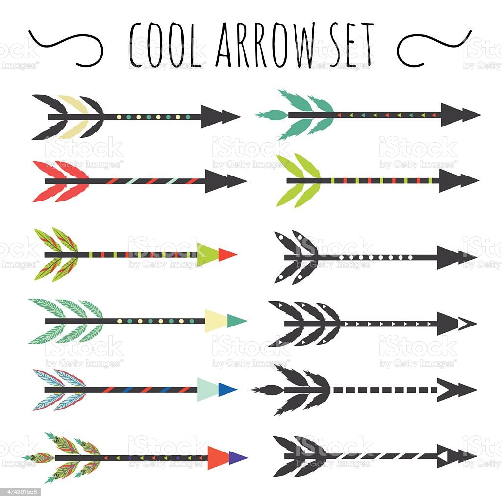 hipster set with arrows with feathers vector art illustration