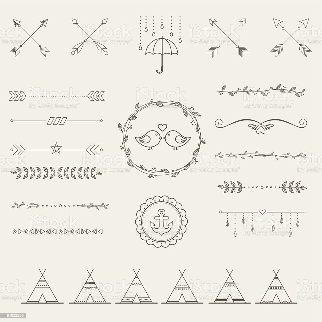 Hipster sketch style infographics elements set for retro design. vector art illustration