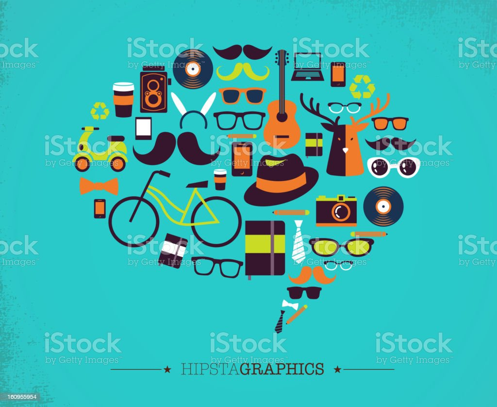 Hipster speech bubble with icons royalty-free stock vector art