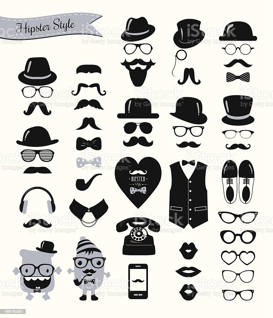 Hipster style banner, mustaches and retro icon set vector art illustration