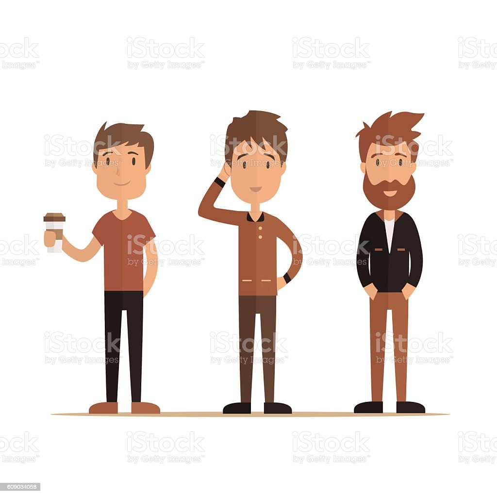Hipster style bearded man, character set collection. Vector illustration vector art illustration