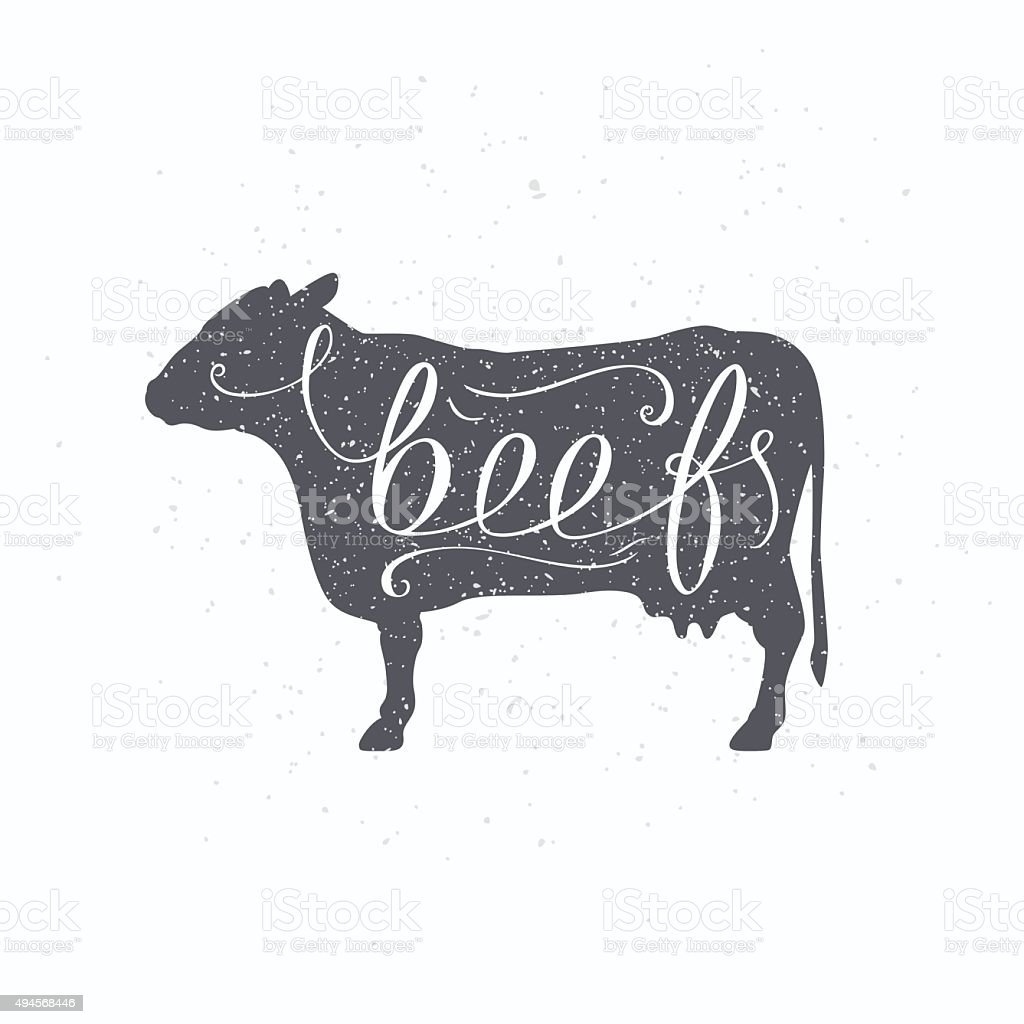 Hipster style cow silhouette. Beef meat hand lettering vector art illustration
