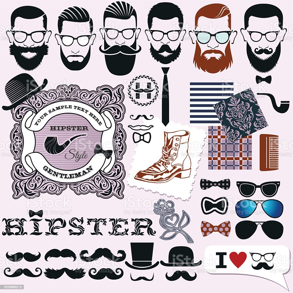 Hipster style design, artistic isolated elements vector art illustration