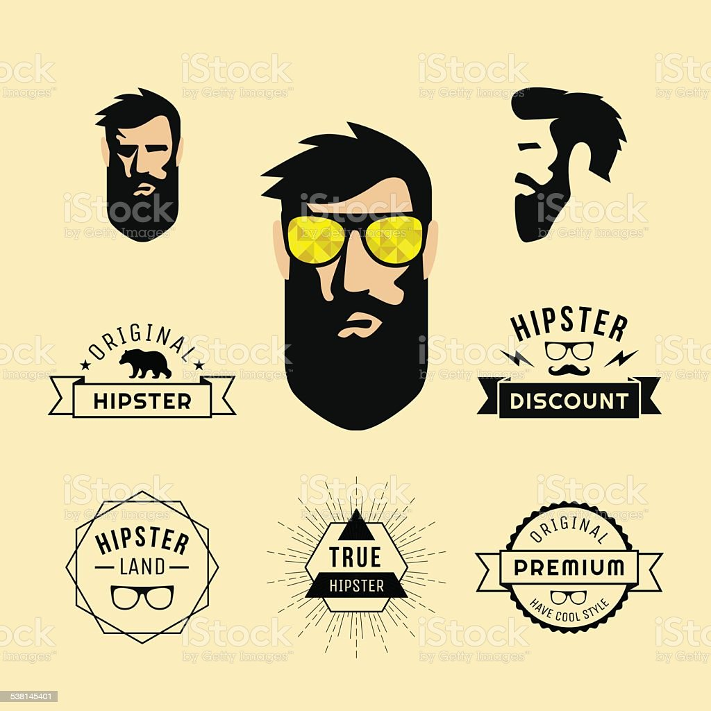 Hipster style guy with sunglasses and collection of vintage hipster labels vector art illustration