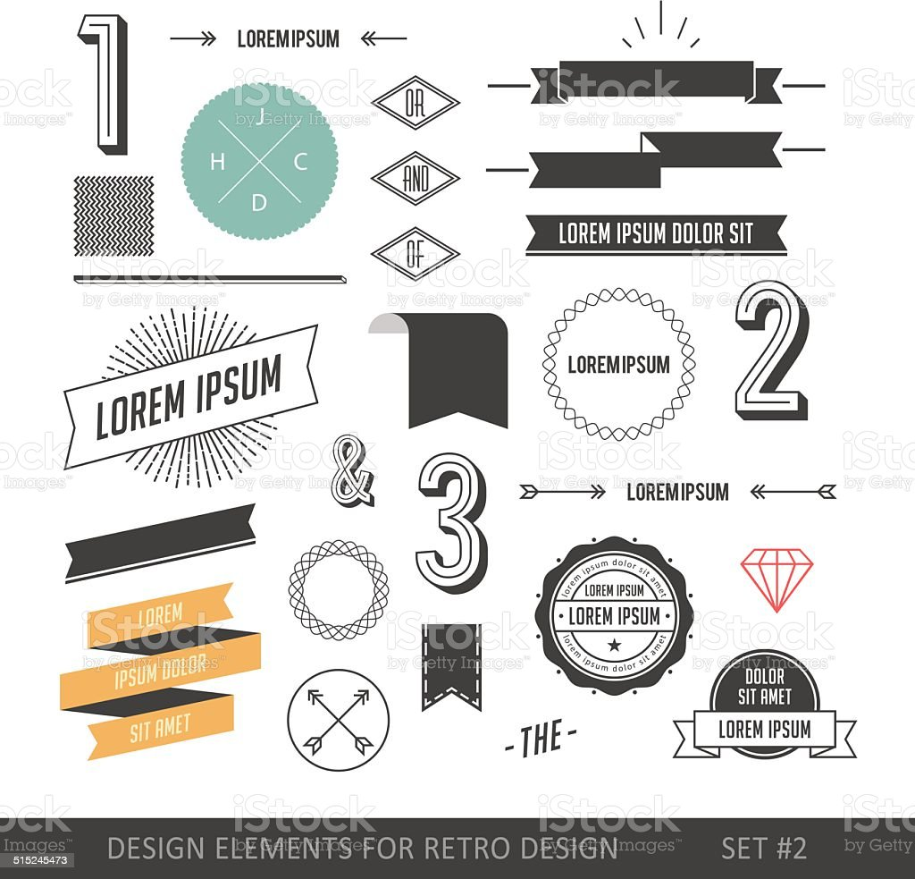 Hipster style infographics elements set for retro design vector art illustration