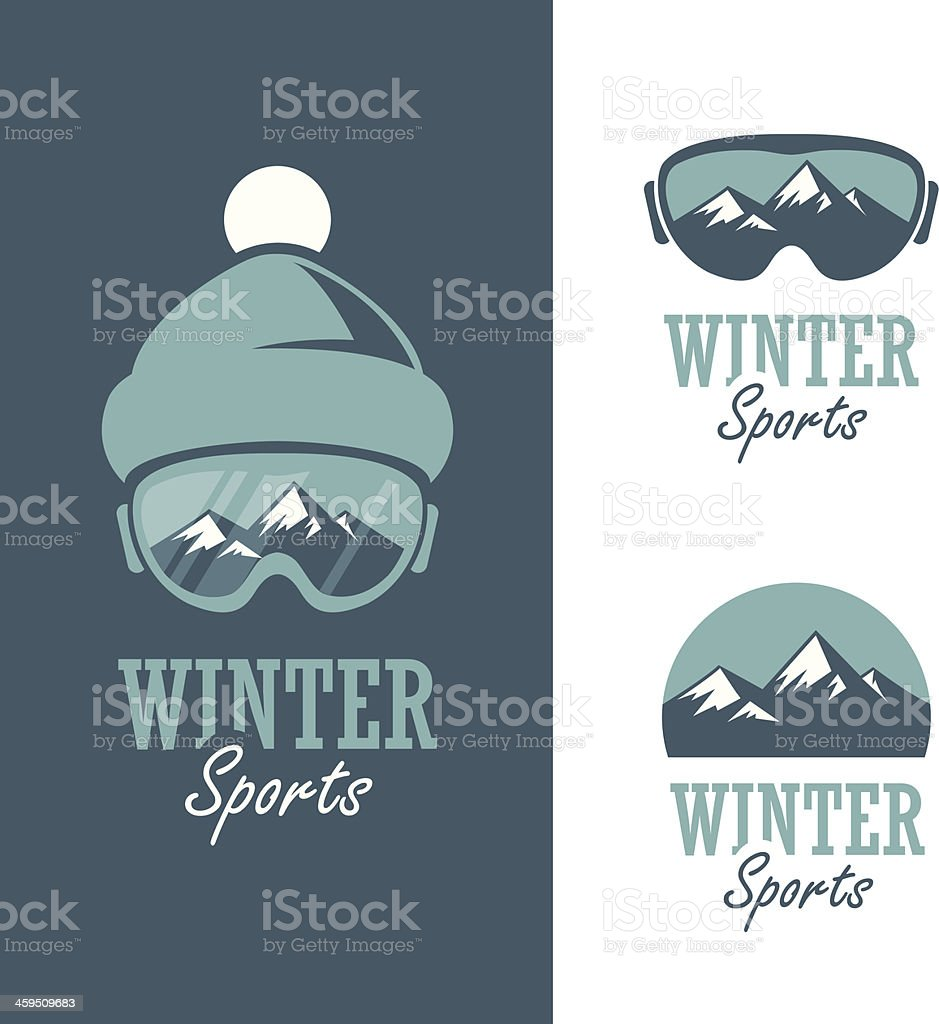 Hipster style logos for winter sports in teal and green vector art illustration