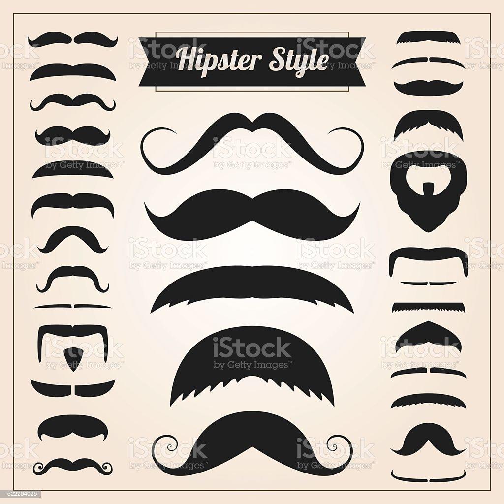 Hipster style mustache vector set vector art illustration