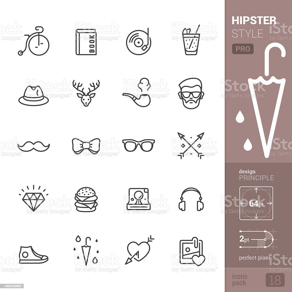 Hipster Style related vector icons - PRO pack vector art illustration