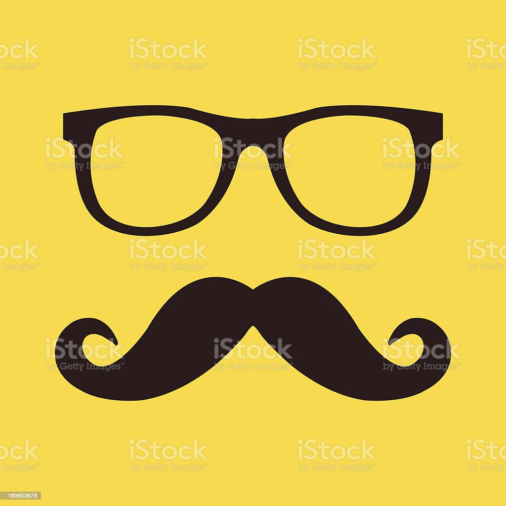 Hipster style vector of a mustache with glasses vector art illustration