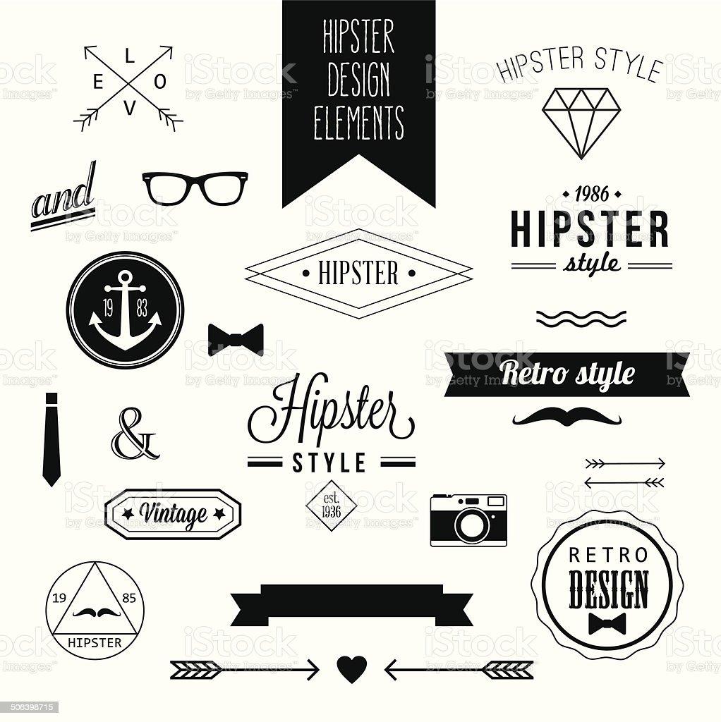 Hipster Style Vintage Design Elements vector art illustration