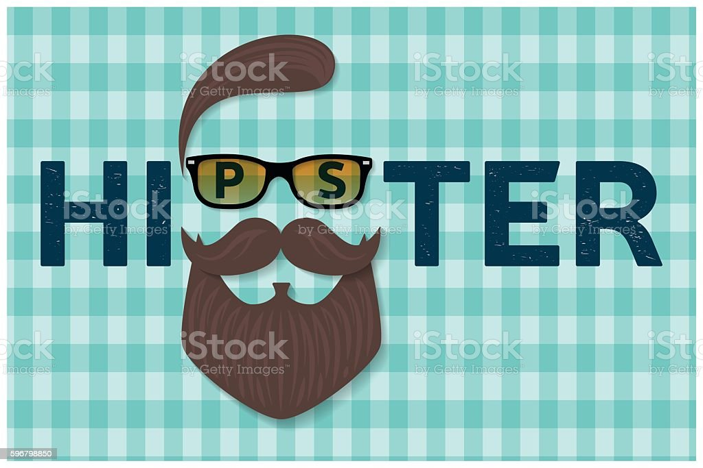 Hipster typography design. Hipster style hair, beards and mustache. vector art illustration