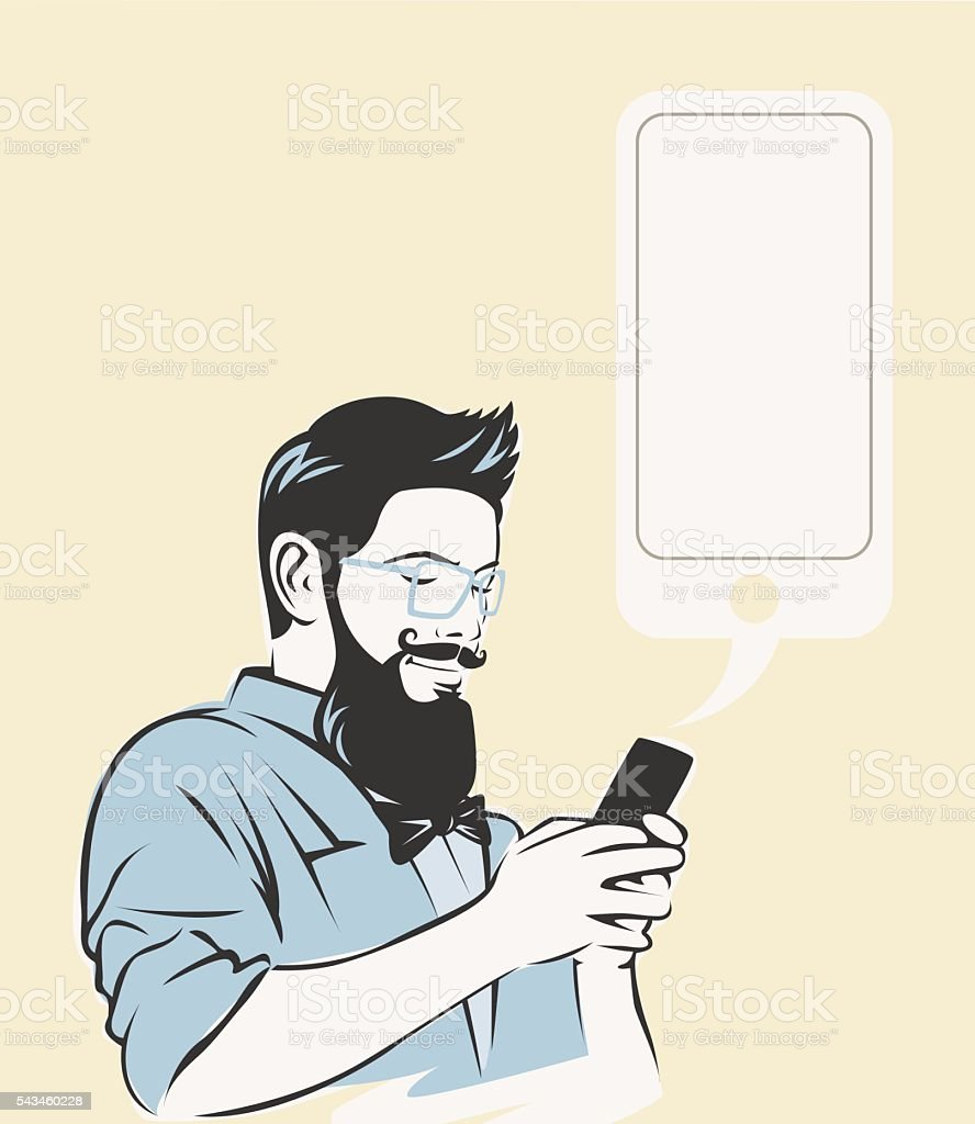 Hipster using a phone. vector art illustration
