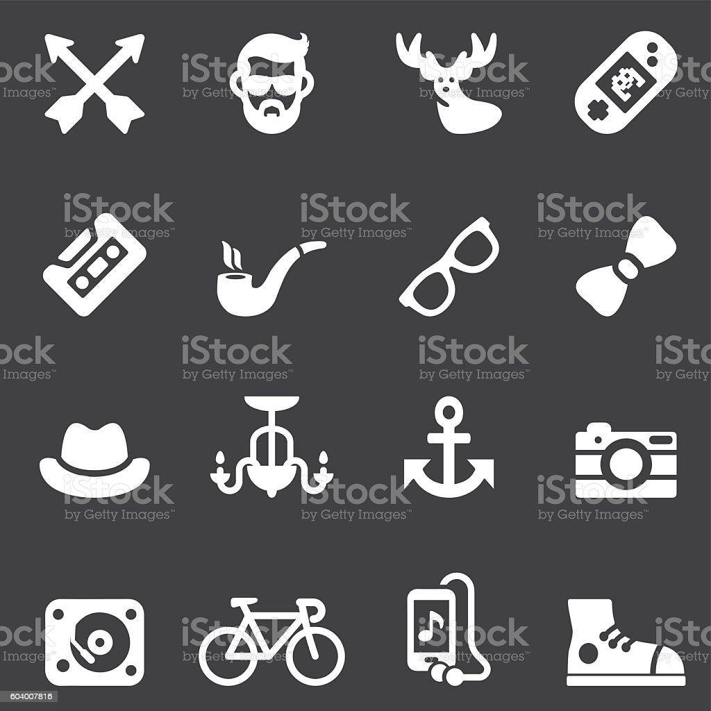 Hipster White Silhouette icons | EPS10 vector art illustration