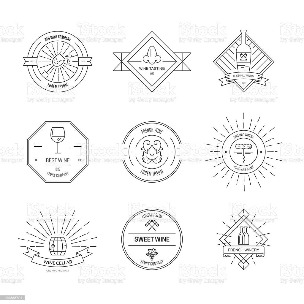 Hipster Wine Icons vector art illustration