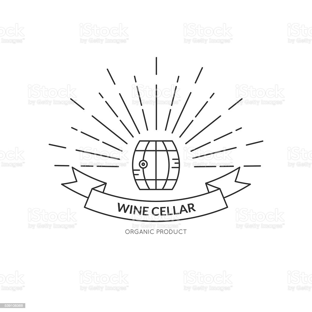 Hipster Wine Logo vector art illustration