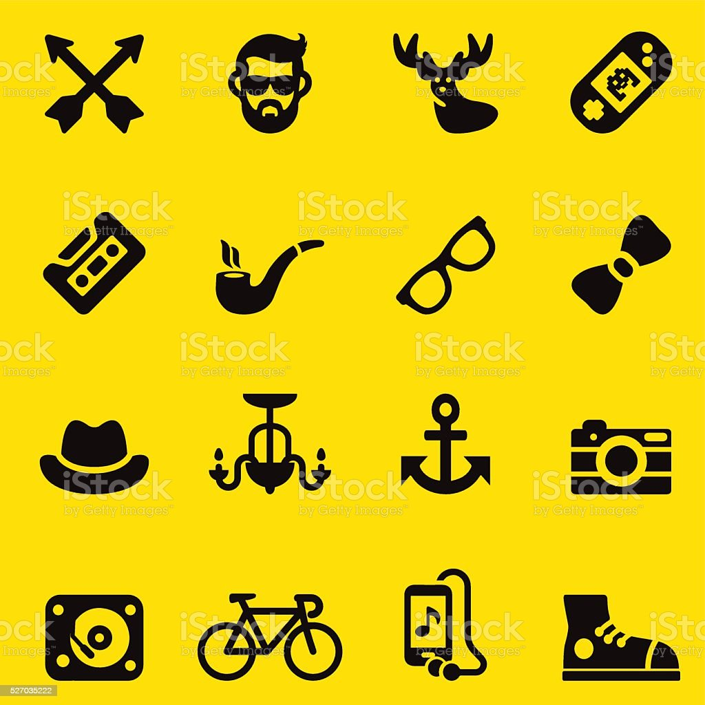 Hipster yellow Silhouette icons | EPS10 vector art illustration