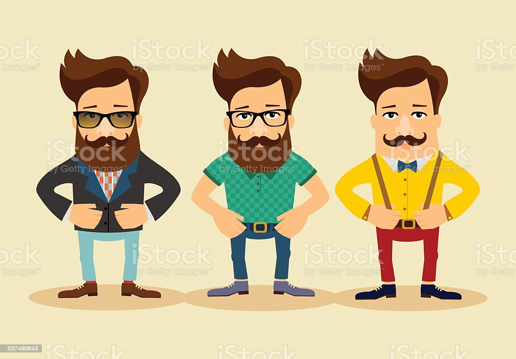 Hipsters cartoon characters. Vintage fashion style vector illustration vector art illustration