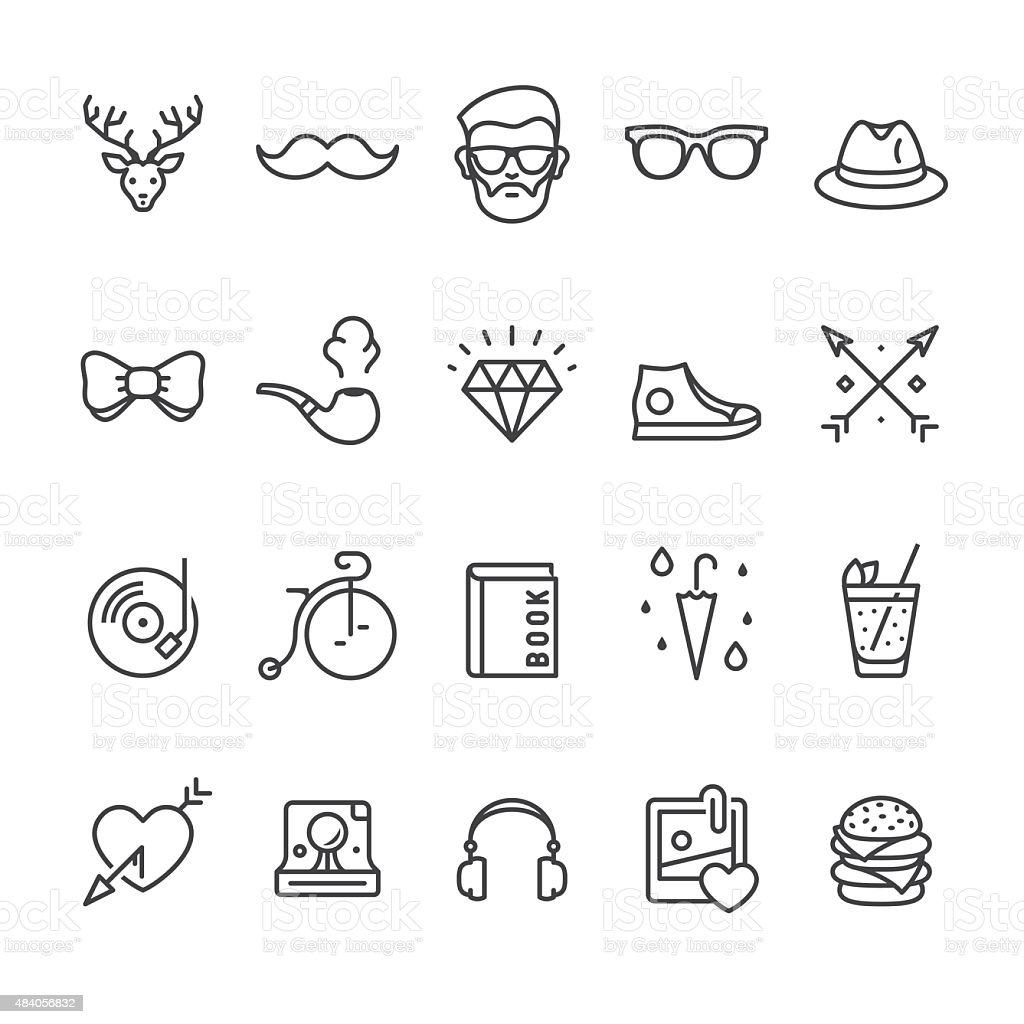 Hipsters related vector icons vector art illustration