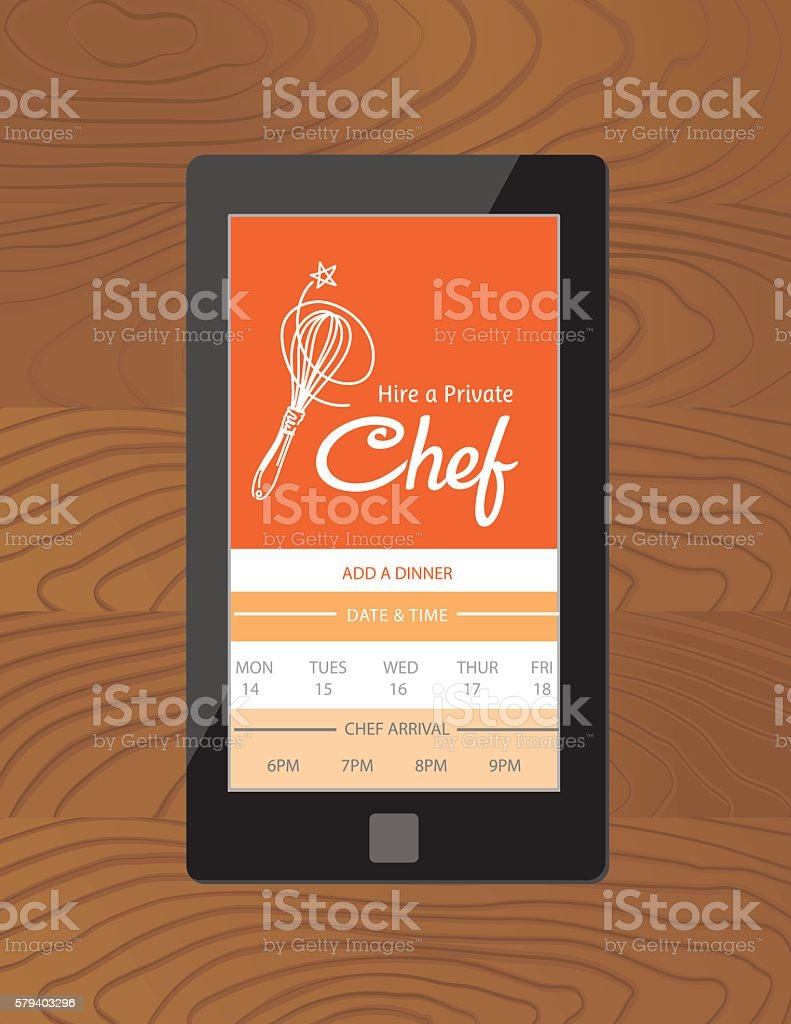 Hire A Private Chef Mobile App vector art illustration