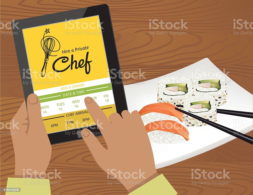 Hire A Private Chef Mobile App vector art illustration