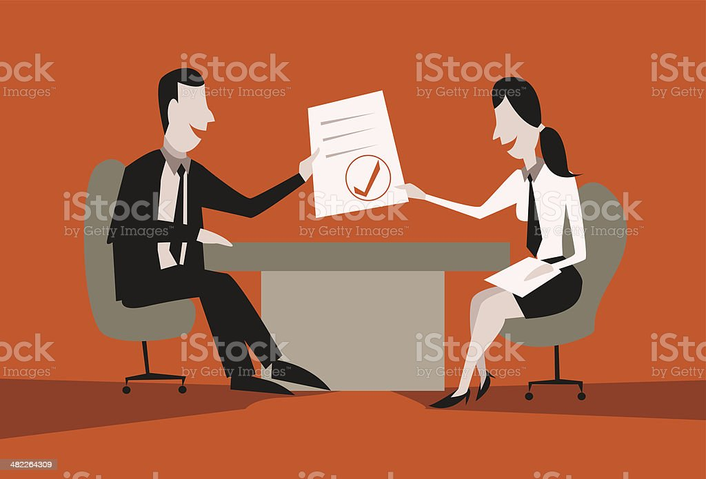 Hiring or selection of an interview candidate vector art illustration