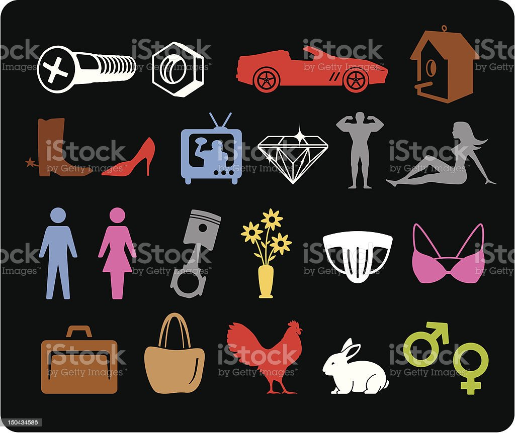 His & Hers Icons vector art illustration