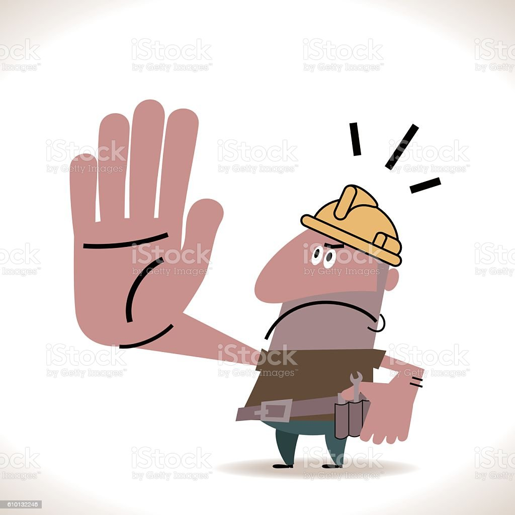 Hispanic Construction Worker Showing Stop Hand Sign vector art illustration