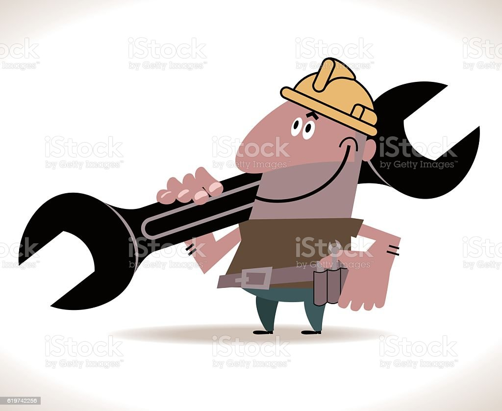 Hispanic Construction Worker with big wrench (spanner) on his shoulder vector art illustration